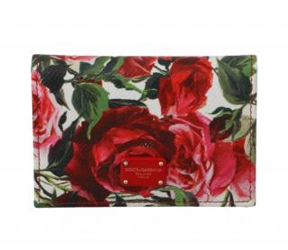 Dolce & Gabbana Rose Print Leather Card Holder