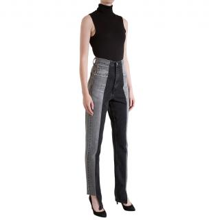 E.L.V Denim Grey/Black Straight Leg Contrast Jeans