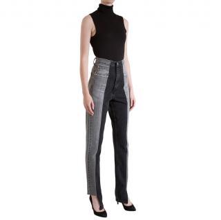 E.L.V Denim Grey/Black Straight Leg Contrast Jeans