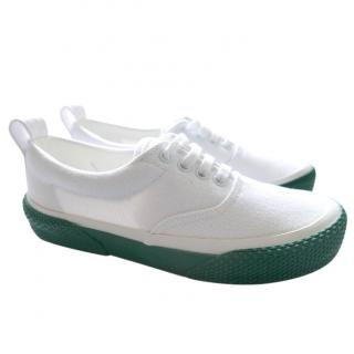 Celine White Canvas 180� Lace-Up Sneakers