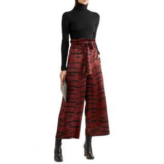 Ganni Maroon Iona Printed Silk Satin Wide-Leg Trousers