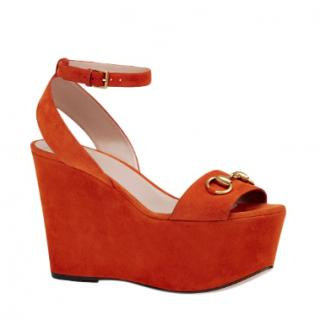 Gucci Orange Suede Midheel Wedge Sandal
