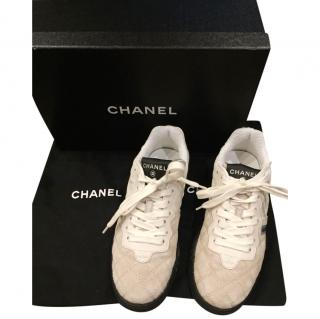 Chanel Beige Suede & Shearling Sneakers