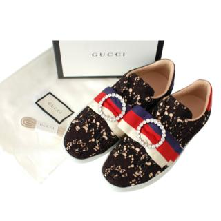 Gucci Black Floral Lace Ace Sneakers