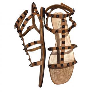 Valentino Tan Rockstud Flat Sandals
