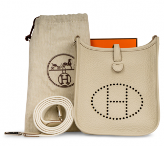 Hermes Clemence Leather Mini Evelyne in Craie
