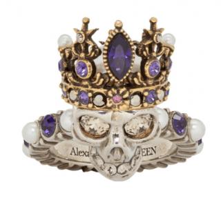 Alexander McQueen Crystal Faux Pearl Queen Skull Ring