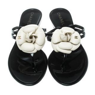 Chanel Black Camellia Embellished Flat sandals