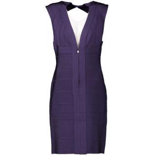 Herve Leger Purple Bandage Zip Front Dress
