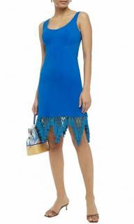 Emilio Pucci Blue Macrame Tassel Trim Dress