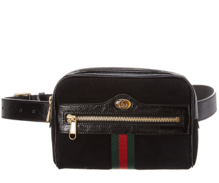 Gucci Ophidia Small Suede & Leather Belt Bag in Black