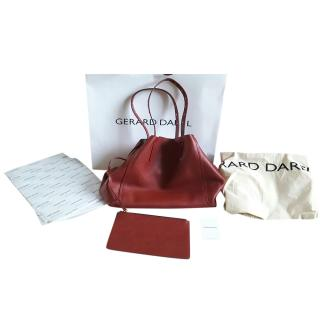 Gerard Darel red calf leather shoulder tote