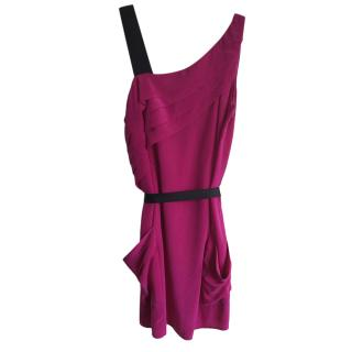 Nanette Lapore Pink One Shoulder Silk Dress