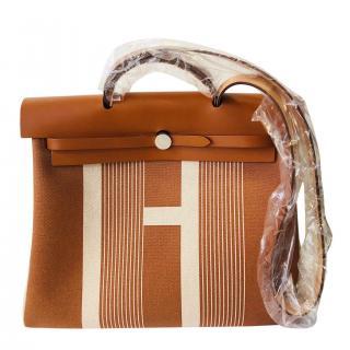 Hermes H Vibration canvas & Hunter cowhide Retourne Herbag Zip 29