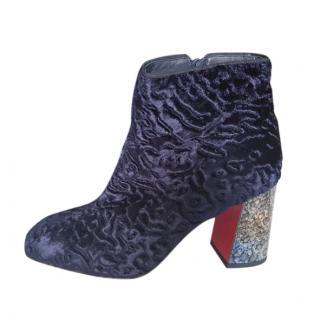 Christian Louboutin Textured Blue Glitter Block Heel Boots