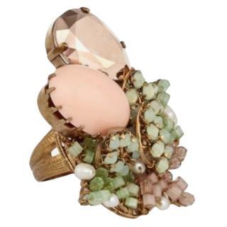 Bijoux De Familie Crystal & Chrysolite Cocktail Ring