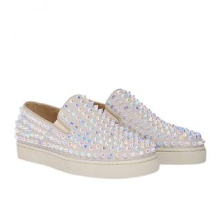 Christian Louboutin Roller Boat Iridescent Spike Slip-On Sneakers