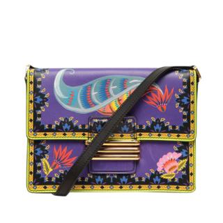 Etro Printed Purple Leather Flap Shoulder Bag