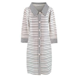Christian Dior Cream Striped Longline Knit Coat