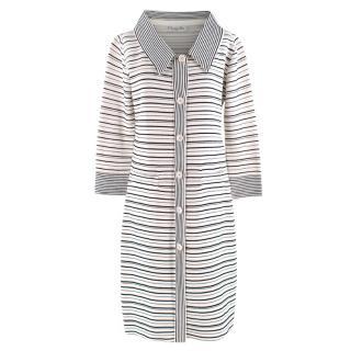 Christian Dior Cream Striped Longline Knit Coat
