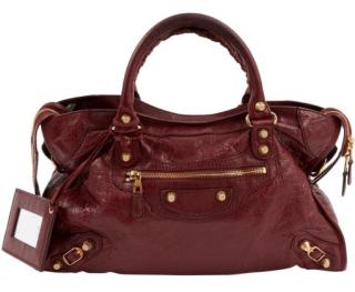 Balenciaga Burgundy Medium City Bag