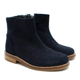 Bonpoint Kids Navy Suede Ankle Boots