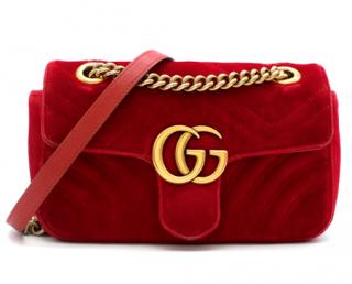 Gucci Red GG Marmont Mini Velvet Bag