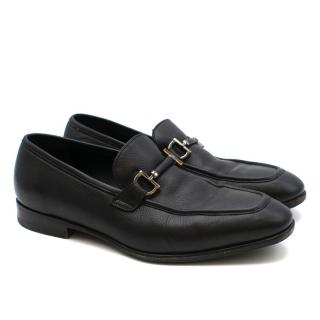 Salvatore Ferragamo Black Leather Gancini Loafers