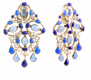 Gripoix Paris Plumetis Crystal and Glass Clip Drop Earrings