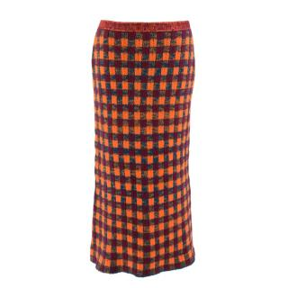 Miu Miu Orange Check Wool Pencil Skirt