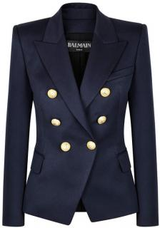 Balmain Navy Wool Blend Double Breasted Jacket