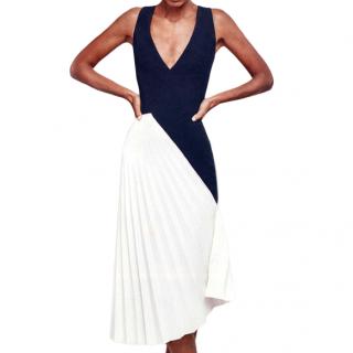 Roland Mouret Pleated Black & White Asymmetric Dress