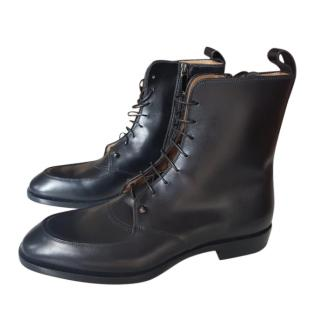 Christian Louboutin Men's Black Leather Lace-Up Boots