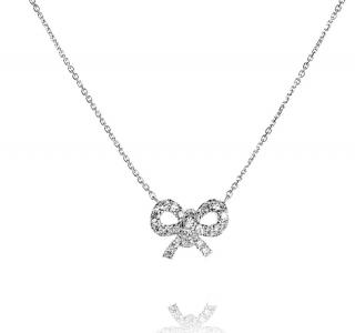 Bespoke White Gold Diamond Bow Necklace
