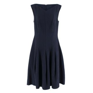 Talbot Runhoff Navy Jacquard Sleeveless A-line dress