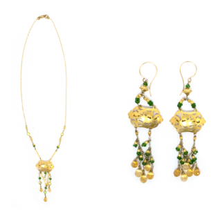 Bespoke Yellow Gold Filigree Beaded Necklace & Earrings