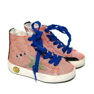 Golden Goose Kids Striped Glitter High Top Trainers