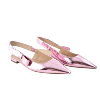 Dior Pink Sweet D Metallic Bow Slingback Ballerinas