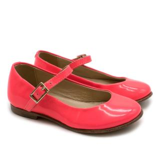 Bonpoint Neon Pink Patent Mary Jane Shoes