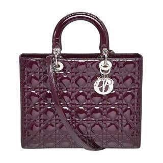 Dior Large Burgundy Patent Lady Dior Bag