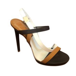 Dior Brown, Black & White Strappy Sandals