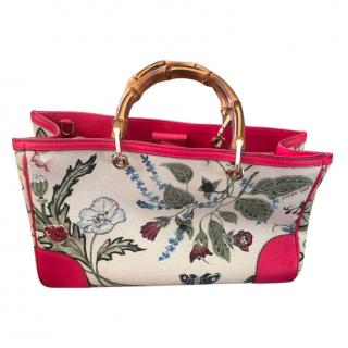 Gucci Pink Bamboo Shopper Canvas Floral Tote