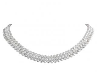 Cartier Triple Strand Diamond Set Gold Bead Necklace