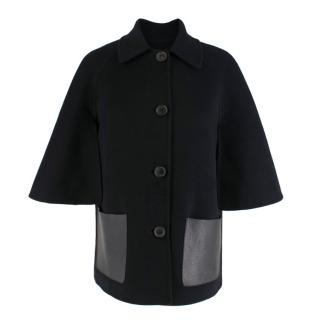 Michael Kors Angora & Virgin Wool Button-Down Cape Jacket