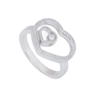Chopard White Gold Happy Diamonds Double Heart Ring