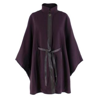 Loro Piana belted leather-trimmed cashmere cape