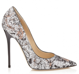 Jimmy Choo Anouk Silver and Ballet Pink Painted Coarse Glitter Pumps