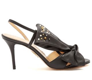 Charlotte Olympia Spiked Leather Bow Sandals