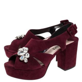 Miu Miu Burgundy Suede Crystal Sandals