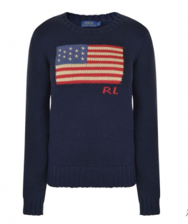 Polo Ralph Lauren Navy Knit Flag Jumper